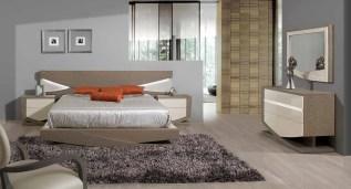 Quarto Casal em Carvalho e lacado alto brilho beje. Transforme o seu quarto num Quarto de Sonho!