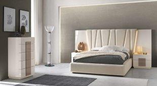 Cama Casal estofada com Led´s, mobiliário em lacado alto brilho pérola e champanhe. Transforme o seu quarto num Quarto de Sonho!
