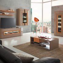 Sala de Estar em lacado alto brilho castanho e nogueira com iluminação Led. Personalizamos os acabamentos e as dimensões.