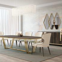 Mobiliário em Eucalipto com detalhes em inox cor dourado. Sala de jantar onde pode personalizar os acabamentos. Consulte-nos para encontrar a melhor solução para o seu espaço!