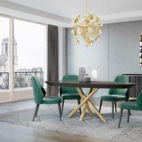 Mobiliário em Eucalipto fumé com detalhes em inox cor ouro. Sala de jantar onde pode personalizar os acabamentos. Consulte-nos para encontrar a melhor solução para o seu espaço!