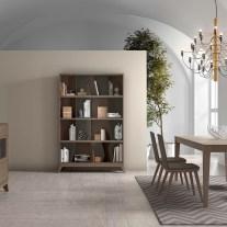 Mobiliário em madeira de carvalho e pormenores em lacado cinza. Sala de jantar onde pode personalizar os acabamentos. Consulte-nos para encontrar a melhor solução para o seu espaço!