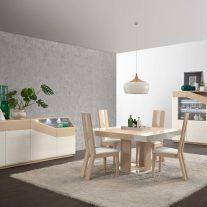 Mobiliário em carvalho natural e lacado alto brilho branco com iluminação LED. Sala de jantar onde pode personalizar os acabamentos. Consulte-nos para encontrar a melhor solução para o seu espaço!