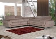 Sofá de Canto com assentos deslizantes estofado em tecido