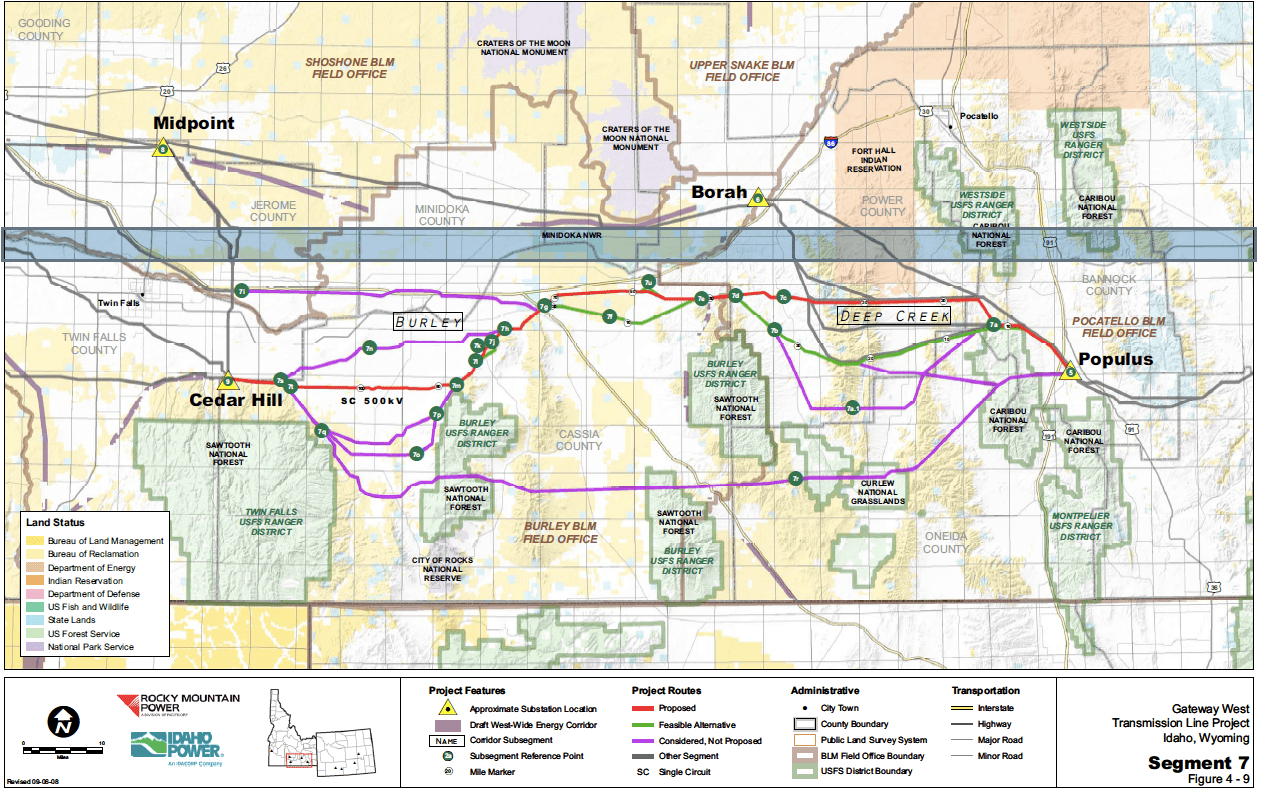 Proposed routes through Cassia County
