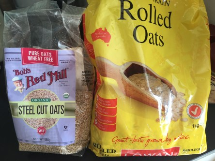 Left: steelcut gluten free oats Right: regular rolled oats