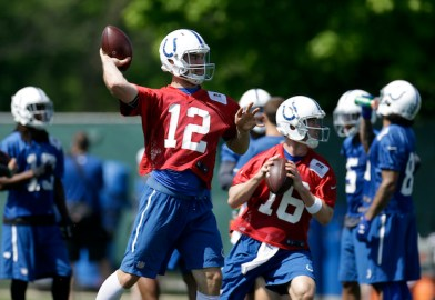 Indianapolis Colts quarterbacks Andrew Luck (12) and Scott Tolzien throw during football practice at the NFL team's practice facility in Indianapolis, Tuesday, May 24, 2016. (AP Photo/Michael Conroy)