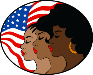 An illustration of three Black women in profile, the American flag behind them.