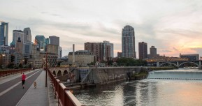 walking on the Stone Arch Bridge