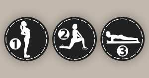 Three diagrams showing physiotherapy exercises to combat the problems from sitting too long