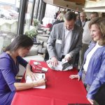 Lisa Genova signed books for 100 guests, including Paula Kollstedt, executive director of the Alzheimer's Association Greater Cincinnati Chapter.