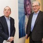 Dr. Donald Wayne, chief medical officer at Jewish Hospital, with foundation board chairman Dr. William D. Tobler