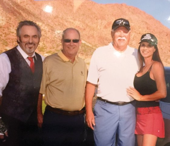 """At the 2015 Hyundai Invitational: Golf commentator David Feherty; Stepping Stones Golf Classic winners Ken Heil and Dave Wurtenberger; and Debbie Dunning from the TV show """"Home Improvement"""""""