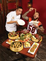 Chef Michael Ly of The Pacific Kitchen and Rey Maualuga