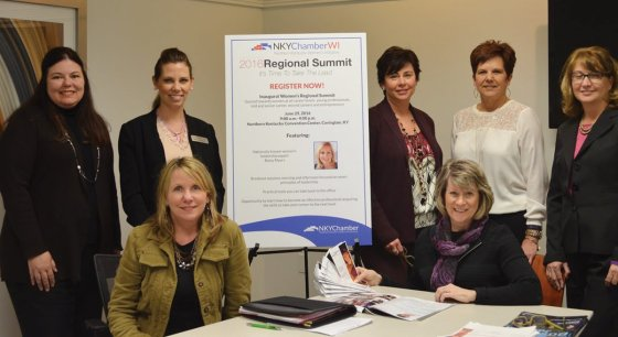 Regional Women's Summit planners: (standing) Wonda Winkler, Brighton Center; Carmen Williams, Events Unlimited; Renee Wuerdeman, MeetNKY; Linda Schilling, Valley View Temporary Housing; and Geralyn Isler, Business Benefits; (seated) Melissa Lutz, Champlin; and Laura Kroeger, Communications Project Partners