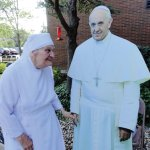 Sister George with (cardboard) Pope Francis