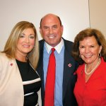 Vanessa Mosley, Red Cross chief development officer; speaker Dave Sanderson; and Trish Smitson, Red Cross regional CEO