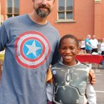 Kevin Fleischmann and his superhero partner