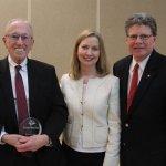 Honoree Judge Walter Rice, Rhonda Moore and emcee Jim Yunker