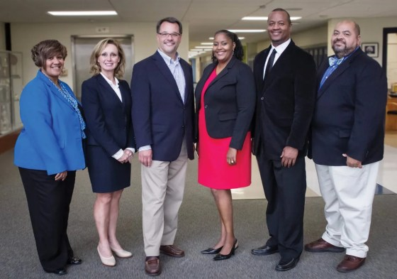 SCPA leadership team: assistant principal Kimberly Brown, external relations officer Teresa Summe-Haas, executive director Nick Nissley, artistic director Angela Walker, principal Michael Owens and assistant principal John Copenhaver