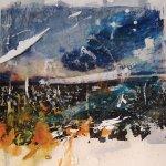 "Kim Flora, ""Landscape in Haste,"" 2016, media paint and toner transfer on mylar over paper"