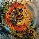 "Erin Kelley, ""Singularity I,"" 2016, shellac, spray paint, and acrylic ink on plexi-glass"