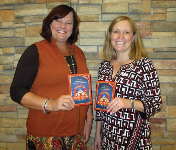 Dr. Donna Lambers, gala chair, and Dr. Kristin Coppage, gala co-chair, at the invitation assembly party