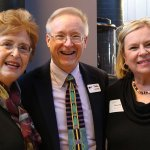 Steering committee members Saralou Durham and Amelia Crutcher with Playhouse managing director Buzz Ward