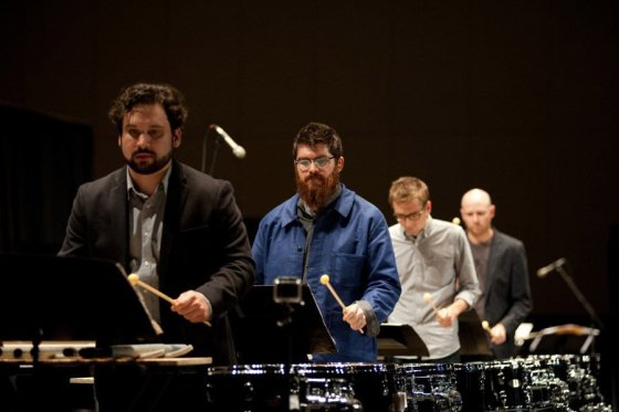 """Sō Percussion, with choreographer/director Emily Johnson, drum home """"A Gun Show"""" at the CAC."""