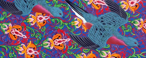 "Kevin Veara, ""Americana #14 Passenger Pigeon,"" 50"" x 20"", acrylic on wood panel"
