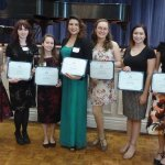 First-place Nippert Prize winners: Kanako Shimasaki, UC College Conservatory of Music; Jenna Turner, Northern Kentucky University; Taylor Fleshman, CCM; Mafer del Real, CCM; Emily Celeste Fink, CCM; Brianna Bragg, CCM; and Kayleigh Decker, CCM. Not pictured: Kelly Cave, School of Design, Architecture, Art and Planning
