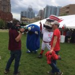 Xavier University mascot Blue Blob and Cincinnati Reds mascot Mr. Redlegs with Bob Herzog, event emcee and Local12 anchor