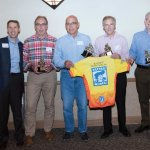 Ride coordinator Chris Comley, JDRF CEO Derek Rapp, board president Susan Mustian and four of the original riders