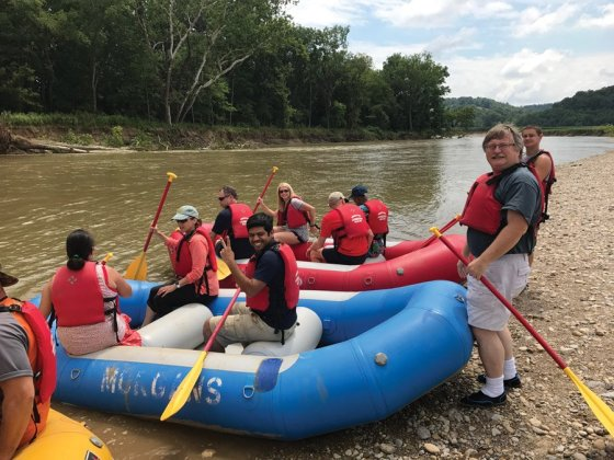 Raft One: Angelica Botia, Ellen Ross, Chan Ganesan and Jim Cable; Raft Two: Mark Thice, Dianne Brossart, Jeff Hahn, Shirley Hamm and a Morgan's Outdoor Adventure staff member