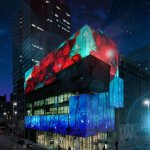 Artists imagining of projection mapping on the Contemporary Arts Center – art will be programmed by Lightborne (the actual art will be different).