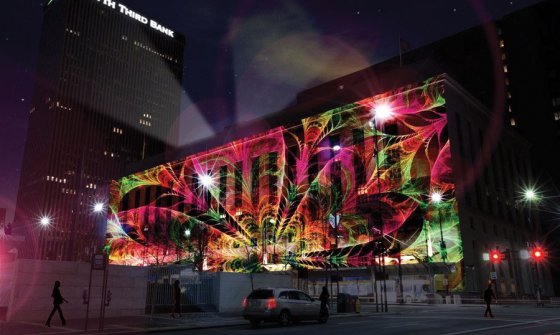 Artist imagining of projection mapping on the Federal Building (the actual art will be different).