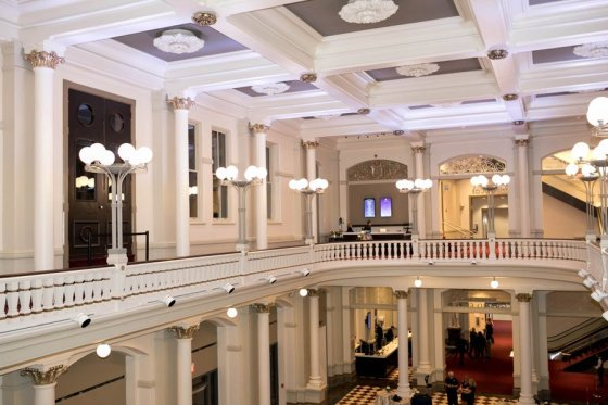 Balcony lobby, overlooking the grand foyer.