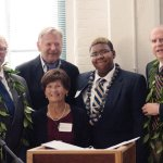 John Sullivan, president of the Art Academy of Cincinnati; John Sucich and Florence Kimmons (seated), founders of the scholarship; Kyros Barton, scholarship recipient; Richard Friedman, AAC board chair