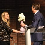 Maddie Spielman accepting the Power of Pink award for the Stephanie Spielman Fund
