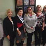 Darlene Welling, Renita Homan, Joyce Lehmann, Holly Mouch, Mary Beth Schmidt, Felicia Burger, Jennifer Pavelka at the committee's invitation-stuffing gathering