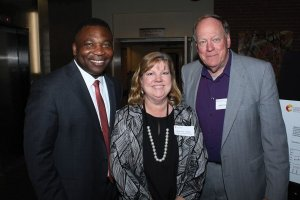 Evans Nwankwo with Charlene Smith, CATS college and career manager, and Rick Hulefeld, CATS board member