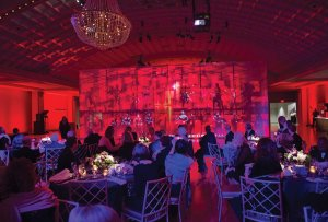 """Scaffolding and projection screen used in the transition to the """"Brick House Bash"""" after-party"""