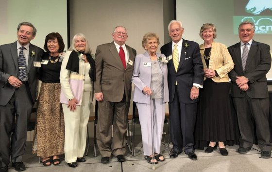 Honorees Karl Lietzenmayer, Pat Fox, Judy Clabes, Gene Clabes, Eileen Harper and Ken Harper with Laurie Risch, BCM executive director, and Jack Moreland, trustee and past president