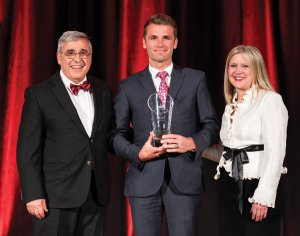 George Suckarieh, UC professor emeritus; Austin Allison, Jeffrey Hurwitz Young Alumni Outstanding Achievement Award winner; and Jennifer Heisey, executive director, UC Alumni Association and vice president for alumni relations, UC Foundation
