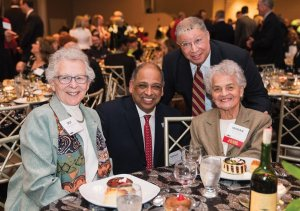 Dot Christenson; UC President Neville Pinto; the Honorable Tyrone Yates; and honoree Marian A. Spencer
