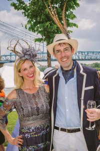 Featured milliner Amy Holzapfel with Jared Queen, Cincinnati Parks Foundation development director