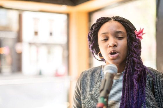 "Adanya Stephens, who is a student at SCPA, performing Spoken Word. Adanya is participating in the Elementz high school poetry competition, ""Louder Than A Bomb."""