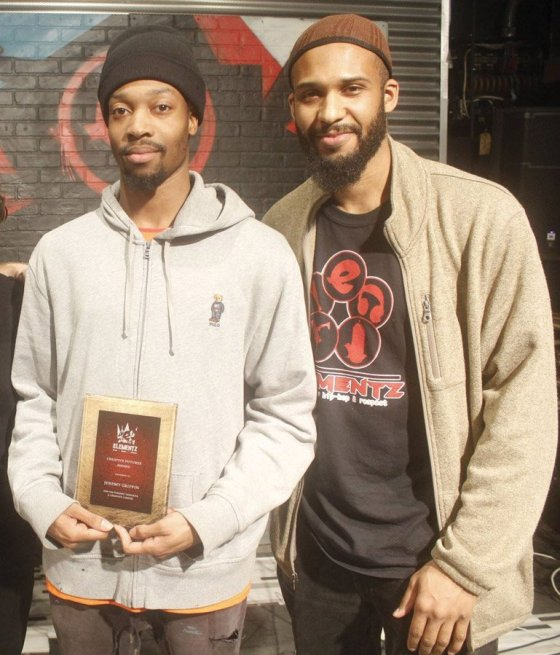 Dancer Jeremy Griffin, longtime Elementz member, with Abdullah Powell, creative director