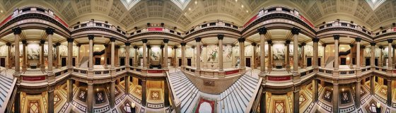 "From ""Panoramic Views of America's Landmark Museums"" at the Contemporary Arts Center: Tom Schiff, ""Carnegie Art Museum, Staircase, Pittsburgh, PA,"" photograph"