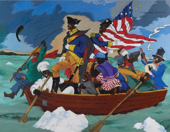 """Robert Colescott, """"George Washington Carver Crossing the Delaware: Page from an American History Textbook"""""""